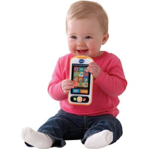 baby with VTech phone