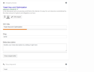 Yoast Keyword Optimization tool